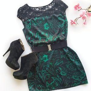 Express Green & Black Print Lace Dress Size XS